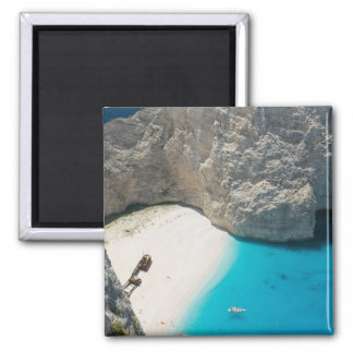 GREECE, Ionian Islands, ZAKYNTHOS, SHIPWRECK Square Magnet