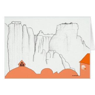 Greece landscape. Meteora Monastary from Kalambaka Card