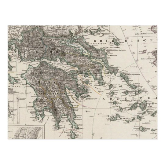Greece Map by Stieler Postcard