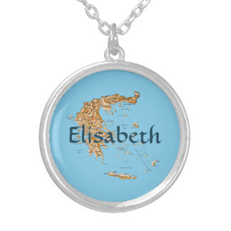 Greece Map + Name Necklace