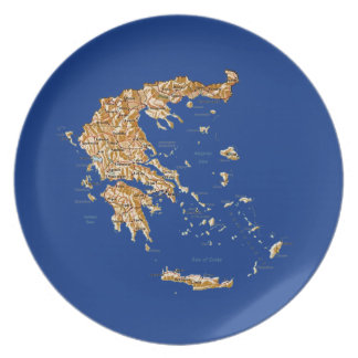 Greece Map Plate