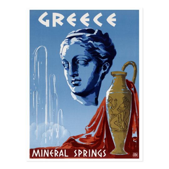 Greece Mineral Springs Vintage Travel Poster Resto Postcard