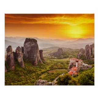 Greece Mountains Travel Inspirational Poster