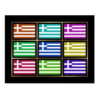 Greece Multihue Flags Postcard