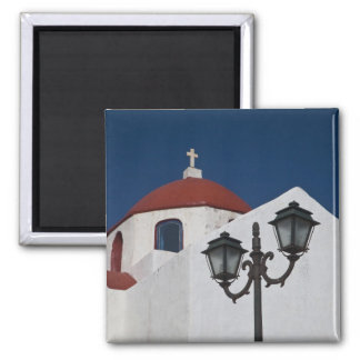 Greece, Mykonos, Chapel with red dome and Magnet