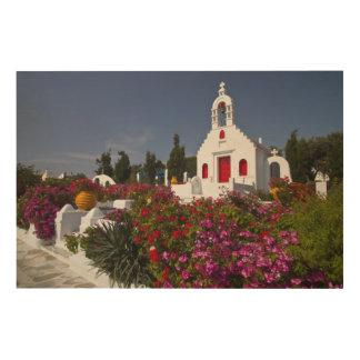 Greece, Mykonos, Cute little chapel in the Wood Print