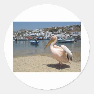Greece Mykonos petros the pelican (St.K) Classic Round Sticker