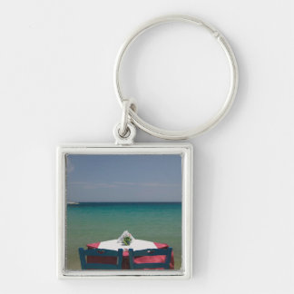 GREECE, Northeastern Aegean Islands, SAMOS, 2 Silver-Colored Square Key Ring
