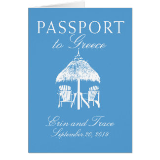 Greece Passport Wedding Invitation Note Card