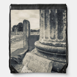 Greece, ruins of ancient city drawstring bag