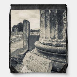 Greece, ruins of ancient city rucksack