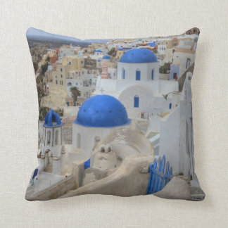 Greece, Santorini. Bell tower and blue domes Cushion