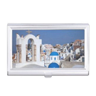 Greece, Santorini. Bell tower and blue domes of 2 Business Card Holder