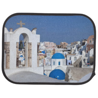 Greece, Santorini. Bell tower and blue domes of 2 Car Mat