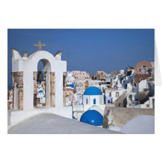 Greece, Santorini. Bell tower and blue domes of 2 Card