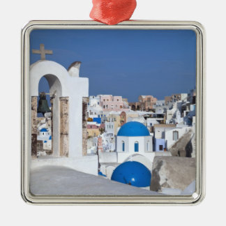 Greece, Santorini. Bell tower and blue domes of 2 Christmas Ornament