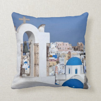 Greece, Santorini. Bell tower and blue domes of 2 Cushion