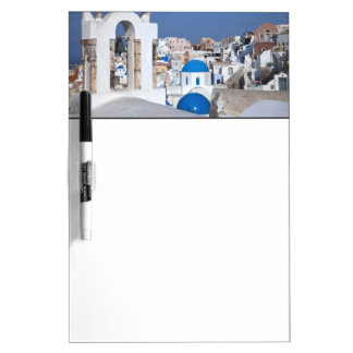 Greece, Santorini. Bell tower and blue domes of 2 Dry Erase Board