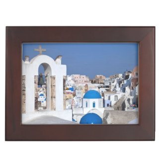 Greece, Santorini. Bell tower and blue domes of 2 Keepsake Box
