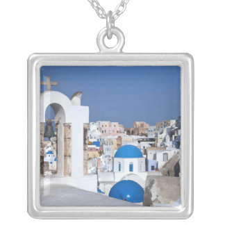 Greece, Santorini. Bell tower and blue domes of 2 Silver Plated Necklace