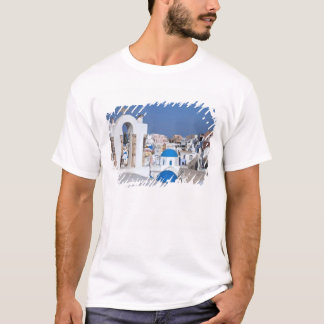 Greece, Santorini. Bell tower and blue domes of 2 T-Shirt