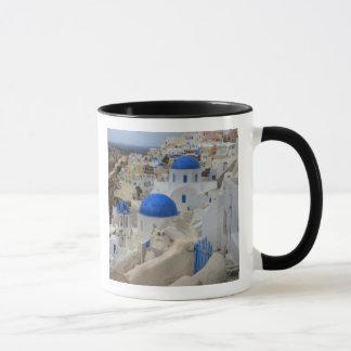 Greece, Santorini. Bell tower and blue domes of 3 Mug