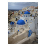 Greece, Santorini. Bell tower and blue domes of 3 Poster
