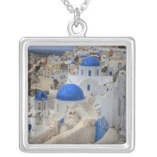 Greece, Santorini. Bell tower and blue domes of 3 Silver Plated Necklace