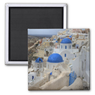 Greece, Santorini. Bell tower and blue domes of 3 Square Magnet