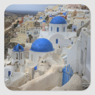 Greece, Santorini. Bell tower and blue domes of 3 Square Sticker