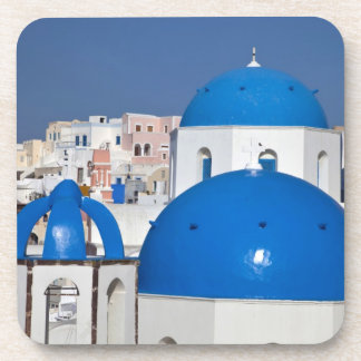 Greece, Santorini. Bell tower and blue domes of Coaster