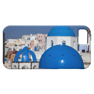 Greece, Santorini. Bell tower and blue domes of iPhone 5 Covers