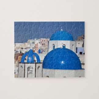 Greece, Santorini. Bell tower and blue domes of Jigsaw Puzzle