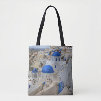Greece, Santorini. Bell tower and blue domes Tote Bag