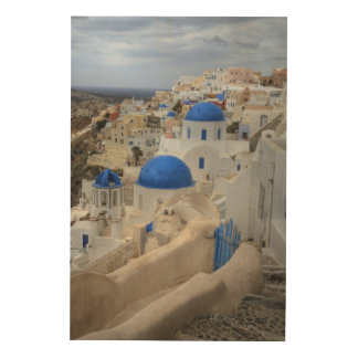 Greece, Santorini. Bell tower and blue domes Wood Wall Art