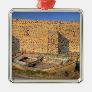 Greece, Santorini, Oia. Old fishing boat on dry Christmas Ornament