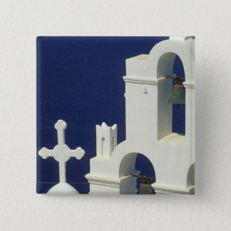 Greece, Santorini. View of a Greek church and 15 Cm Square Badge