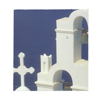 Greece, Santorini. View of a Greek church and Notepad