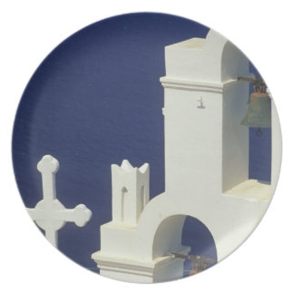 Greece, Santorini. View of a Greek church and Plate
