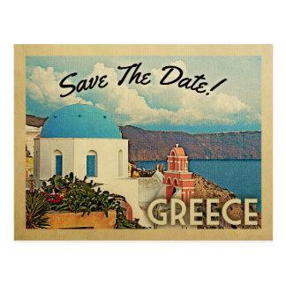 Greece Save The Date Vintage Santorini Postcard