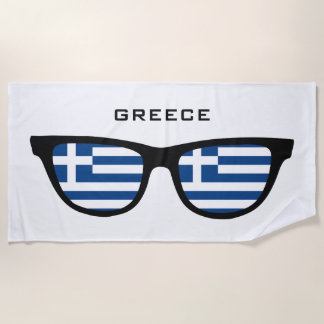 GREECE Shades custom text beach towel