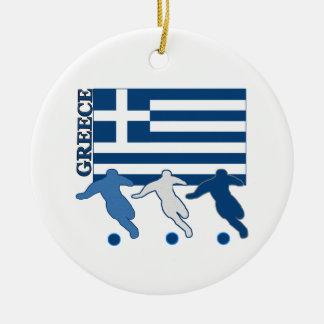 Greece - Soccer Players Round Ceramic Decoration