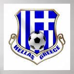 Greece Soccer Shield - Hellas badge Poster