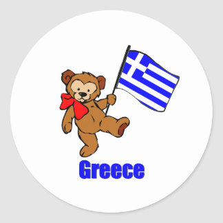 Greece Teddy Bear Classic Round Sticker