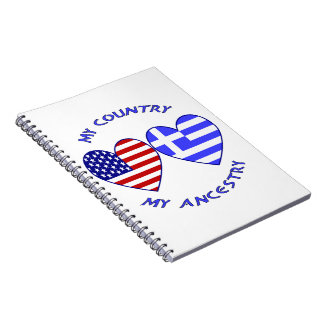 Greece / USA Country Ancestry Spiral Notebook