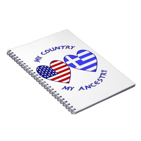 Greece / USA Country Ancestry Spiral Notebook