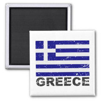 Greece Vintage Flag Square Magnet
