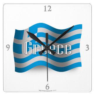 Greece Waving Flag Square Wall Clock