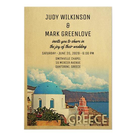 Greece Wedding Invitation Vintage Santorini Invite