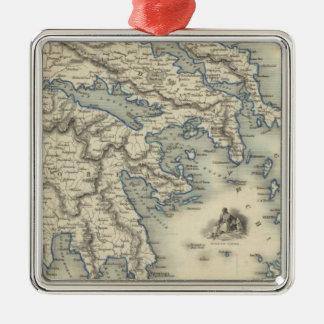 Greece with inset maps of Corfu and Stampalia Christmas Ornament